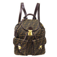 FENDI Zucca Pattern Backpack Hand Bag Purse Brown Black Canvas Leather 90379