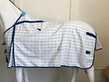 AXIOM POLYCOTTON BLUE CHECK RIPSTOP UNLINED HORSE RUG 6'9