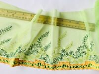 "Stretch Light Green Floral Embroidered Lace Trim/Sewing/Crafts/Bridal/7"" Wide"
