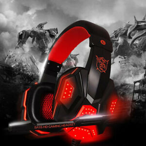 3.5mm Mic Gaming Headset Cool LED Headphones for PC Laptop PS4 Slim Xbox One X S