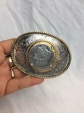 Cool Vtg Montana Silversmith Morgan Silver Dollar Silverplate  Buckle