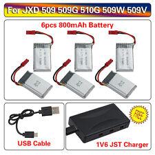 6pcs 3.7V 800mAh Lipo Battery+1V6 Charger for JXD 509 509W 509G 510G RC Drone D4