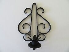 Vintage Metal Candle Sconce Holder Wall Display Black Mid-Century Accent