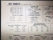 1957 Rambler EIGHT Series 5720 Models 250 CI V8 Tune Up Chart
