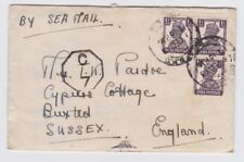 India 1943 Sea Mail WW2 ENTIRE cover from Delhi to Buxted