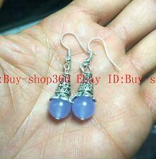 New Charming 10mm Blue Chalcedony Tibetan silver Earrings