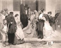 DRUNK MEN WOMEN LEAVE BAR AT DAWN SEE MORNING WORKERS ~ 1882 Art Print Gravure