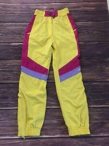 Nevica USA 8/ UK 38 Vintage Yellow Pink Ski Pants Color Block 80s 90s Unisex EUC