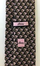 New $230 Brioni Tie RARE PRINT Roses Black/Pink/Green Soft Creamy Silk Italy