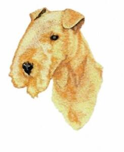 Machine Embroidered Applique Lakeland Terrier sizes 4.7W X 5.7H or  2.4W X 2.8H