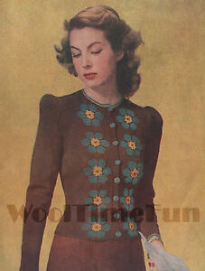 "Knitting Pattern Vintage 1940s Ladies Cardigan Flower Design. 34""-36"" Bust."