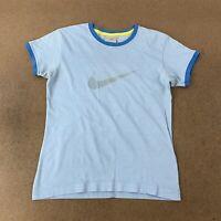 Vintage Nike Women's Size Medium Blue Short Sleeve Graphic T-Shirt