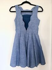 ASOS BLUE CHAMBRAY DENIM LOW BACK SCALLOP Parisienne Style MINI PROM DRESS 6 8