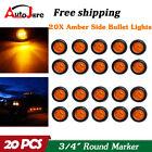 20x 34 Marker Lights Led Truck Trailer Round Side Bullet Light Amber 12v