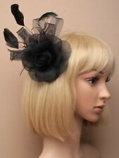 NEW Large Black flower and feather clip and brooch pin fascinator wedding prom