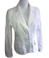H&M Damen Blazer Jacke Weiß Gr.40 Rosenmuster