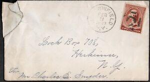 USA 1887 COVER WITH, GEORGE WASHINTON 2C STAMP, UNIQUE DUPLEX CANCEL