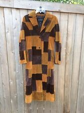 Wilson's Leather Patchwork Corduroy Trench Coat Brown Tan Suede XS S