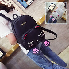 Fashion PU Women Girls Cute Cat School Bag Backpack Travel Rucksack Shoulder Bag