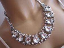 STRASS Collier Damen Hals Kette Modekette kurz Silber Klar Kristall Statement n4
