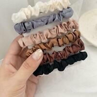 6PCS Fashion Hair Bands Silk Satin Scrunchie Hair Ties Ponytail Holder Rope F3S0