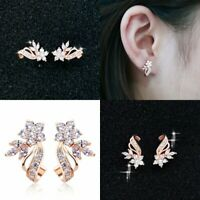 Earrings A Pair Women Stud 14k Rose Gold Plated Jewelry Gorgeous White Sapphire