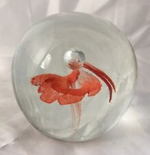 """Orange Flower or Butterfly Art Glass Paperweight Bubble Murano Style 2.75"""""""