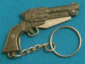 VINTAGE ART MINI FIGURAL REVOLVER PISTOL KNIFE POCKET WATCH FOB KEY CHAIN KNIVES