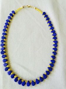 Royal Blue Agate Necklace 17' Long One-Of-A-Kind Gold-Filled Handmade
