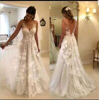 UK Vintage Lace Bridal White/Ivory A Line V Neck Beach Wedding Dresses Size 6-20