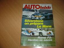 Auto hebdo N°215 6 H de Silverstone.Vallelunga F2