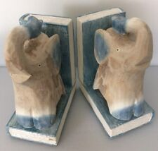 Elephant   Bookends Hand Made carved from wood