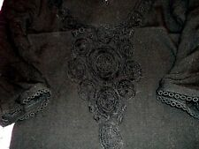 Black Crochet lace front 3/4 sleeve detailed cuffs & hem Dress Size 8