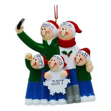 PERSONALIZED Taking A Selfie Family of 5 Christmas Tree Ornament Holiday Gift