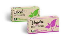 Veeda Natural Cotton Tampons, Regular and Super, Non-Applicator, 1 Box of 16 Ct