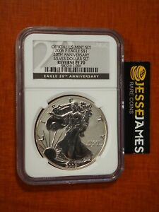 2006 P REVERSE PROOF SILVER EAGLE NGC PF70 FROM 20TH ANNIVERSARY SET BLACK LABEL