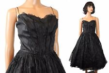 50s Prom Dress XS Vintage Black Sleeveless Organdy Chiffon Lace Cocktail Gown