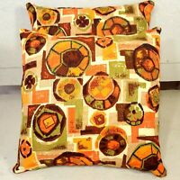 "Pair Tiki Barkcloth16x16"" Throw Pillows Made from Vtg Midcentury Modern Fabric"