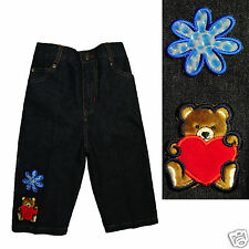 Infant Baby Girl Toddler Denim Woven Jeans with Teddy Bear Holding Heart 12M-3T