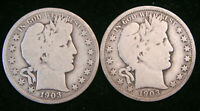 1903 P & O Barber Half Dollar 2 Coin Lot, Good to VG, 90% Silver US Coins!