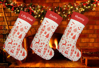 Personalised Embroidered Nordic Style Lined Large 50cm Christmas Stocking