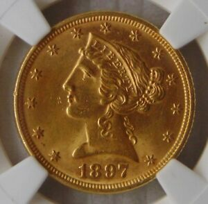 1897 Liberty Head Gold $5 Dollar Half Eagle, NGC MS 64, Beautiful Coin!