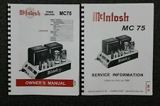 *USA* ULTIMATE MCINTOSH MC75 OWNER'S INSTRUCTION / SERVICE MANUALS