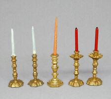 Vintage Silver Shop 5 Metal Candlesticks Dollhouse Miniature 1:12