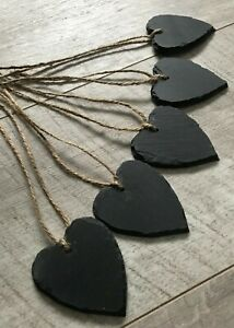 Handmade natural slate heart mini chalkboard name tags wedding favours 6cm