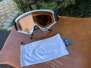 Vintage Oakley Goggles Grey / Amber Lens Ski Snowboarding Retro with Cloth Bag