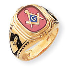 14k Yellow Gold Men's Synthetic Ruby Masonic Ring Y1577M Size 10
