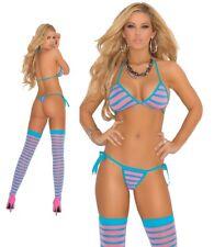 Elegant Moments Striped Bra Thong & Stockings Set Lingerie