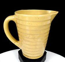"""USA CALIFORNIA POTTERY TAN BANDED STEPPED 5 1/2"""" MILK PITCHER 1950's"""
