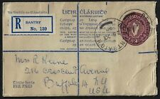 IRELAND 1955 REGISTERED BANTRY WITH BEANNTRAIGHE TOWN DATED CANCEL ON FEE PAID